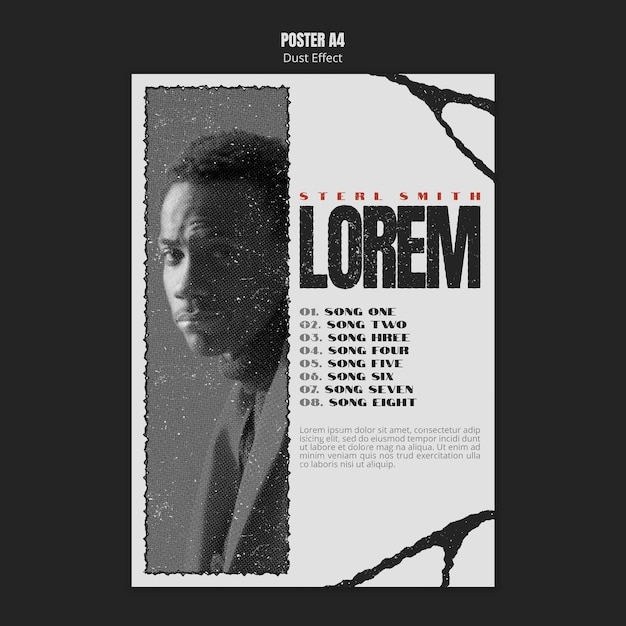 Афиша музыкального альбома с фото и эффектом пыли Бесплатные Psd