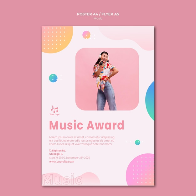 Music award poster stationery template Free Psd