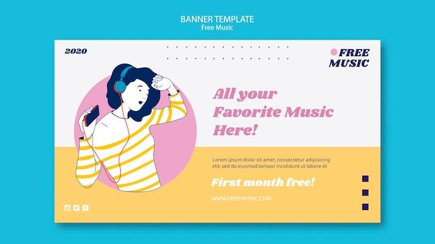 Modello di banner di concetto di musica Psd Gratuite