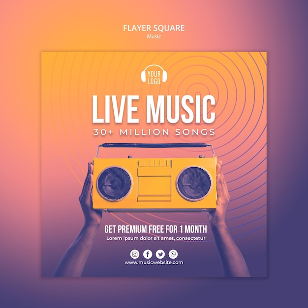 Music concept flyer square template Free Psd