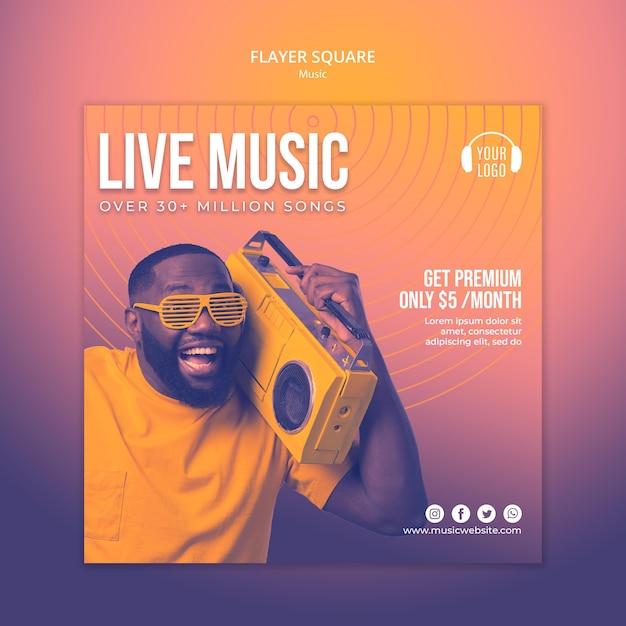 음악 개념 전단지 평방 서식 파일 무료 PSD 파일