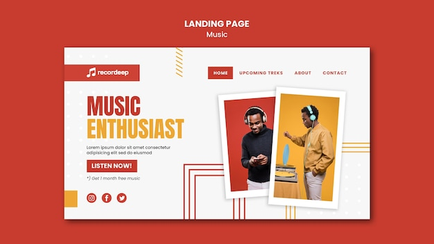 Music concept landing page template Premium Psd