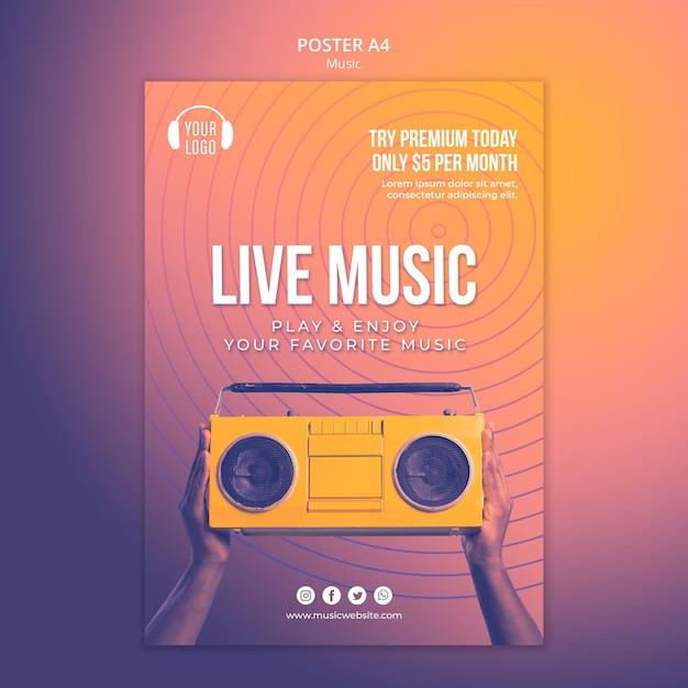 Шаблон плаката музыкальной концепции Premium Psd
