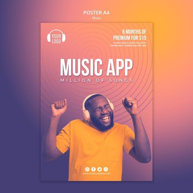 Шаблон плаката музыкальной концепции Бесплатные Psd