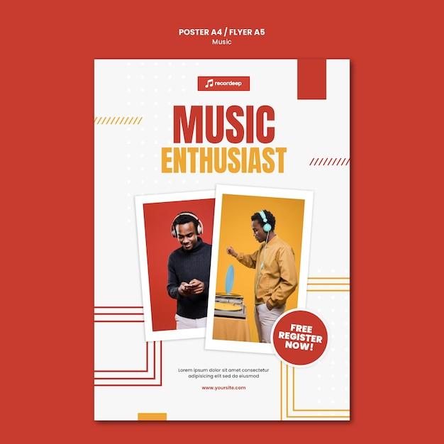 Modello di poster di concetto di musica Psd Gratuite