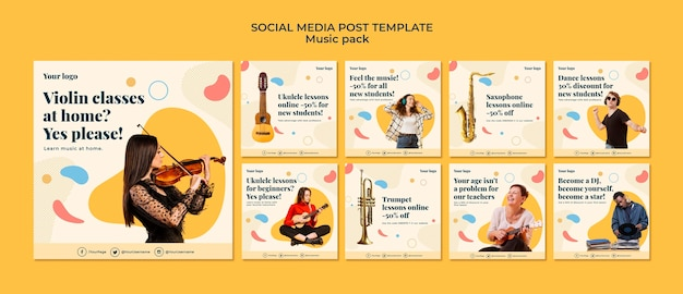 Modello di post sui social media di concetto di musica Psd Gratuite