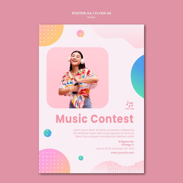 Music contest poster stationery template Free Psd