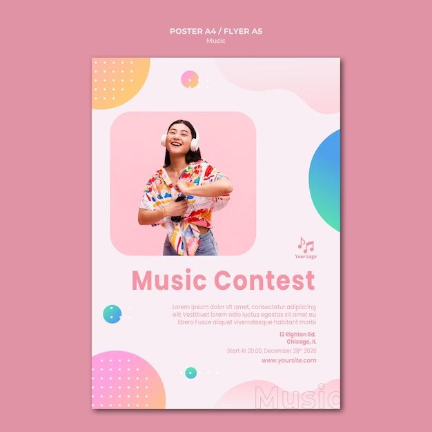Шаблон плаката музыкального конкурса Бесплатные Psd