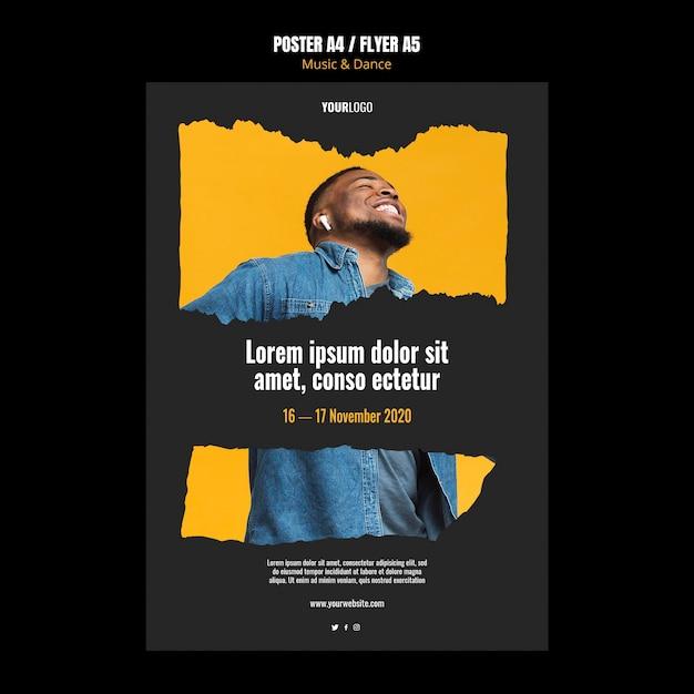 Poster modello di eventi di musica e danza Psd Gratuite