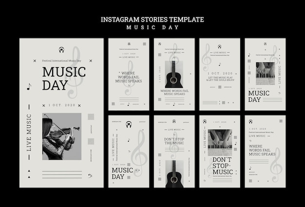 Шаблон истории instagram день музыки Бесплатные Psd
