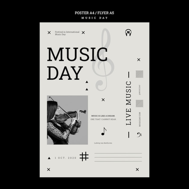 Free PSD | Music day poster template
