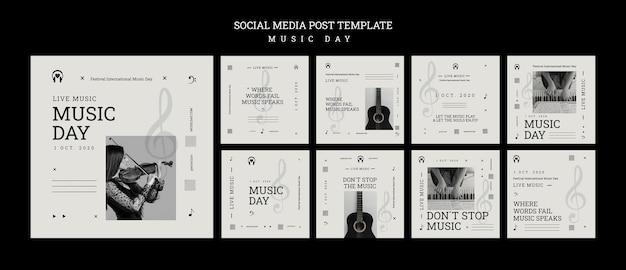 Шаблон сообщения в социальных сетях на день музыки Premium Psd