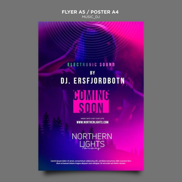 Music dj poster template Free Psd