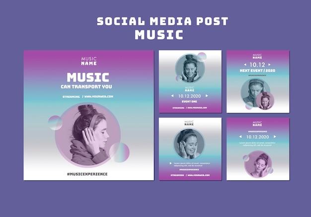 Esperienza musicale post sui social media Psd Gratuite