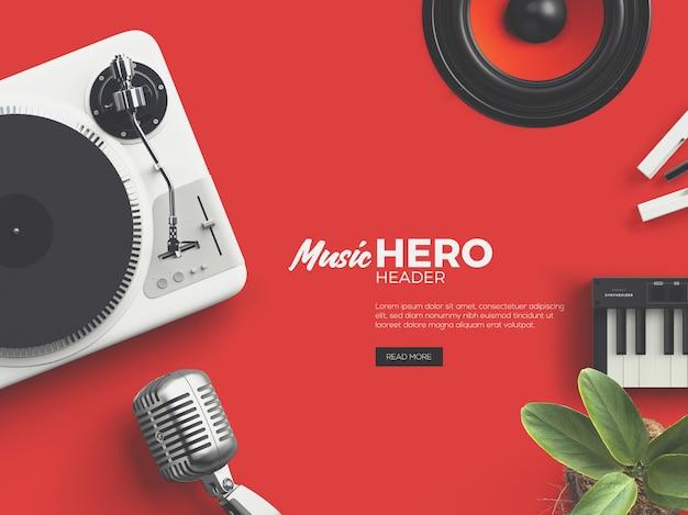 Music fest hero/header custom scene PSD file   Premium Download