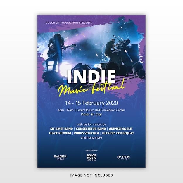 Music festival flyer template Premium Psd