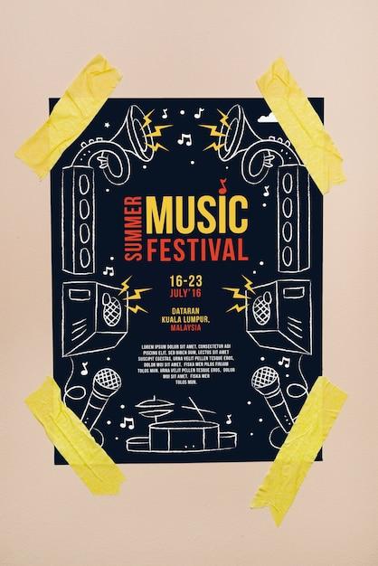 Music festival poster mockup Free Psd