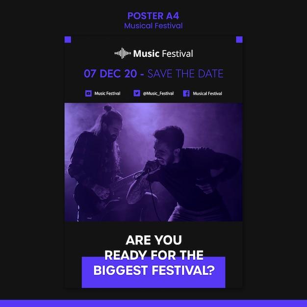 음악 축제 템플릿 포스터 무료 PSD 파일