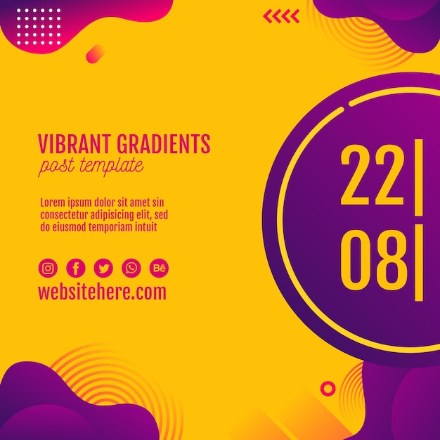 Music festival yellow background template Free Psd