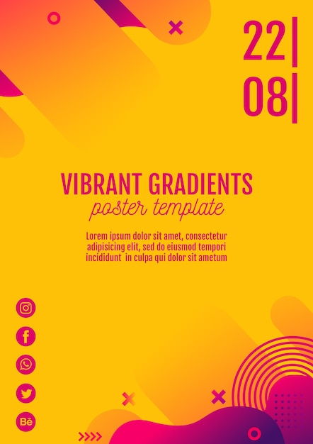 Music festival yellow poster template Free Psd