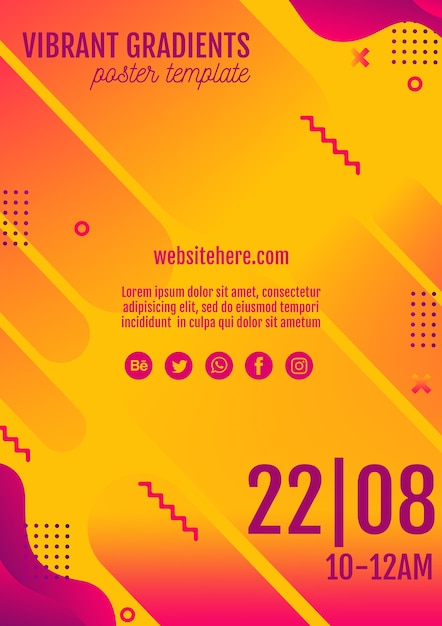 Music festival yellow poster template PSD file | Free Download