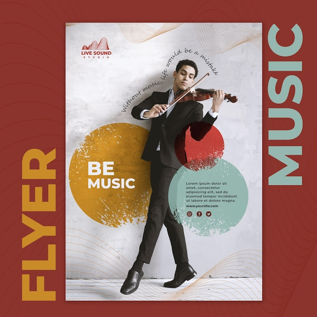 Music flyer template with photo of man playing a viola Free Psd