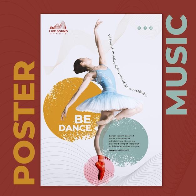 발레리나의 사진과 함께 음악 전단지 서식 파일 무료 PSD 파일