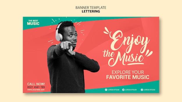 Music horizontal banner template Free Psd