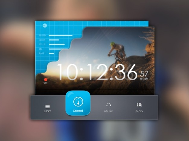 Music interface with blue progress bars Free Psd