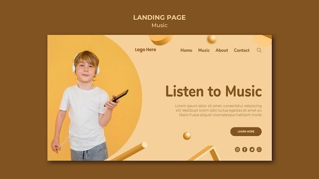 Веб-шаблон целевой страницы музыки Бесплатные Psd