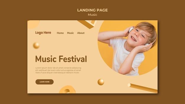 Целевая страница музыки Бесплатные Psd