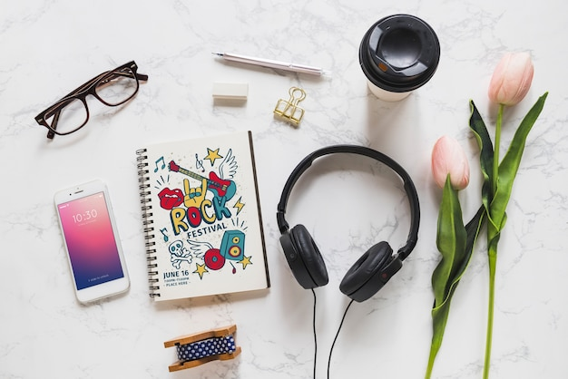 Music mockup with headphones and various objects Free Psd