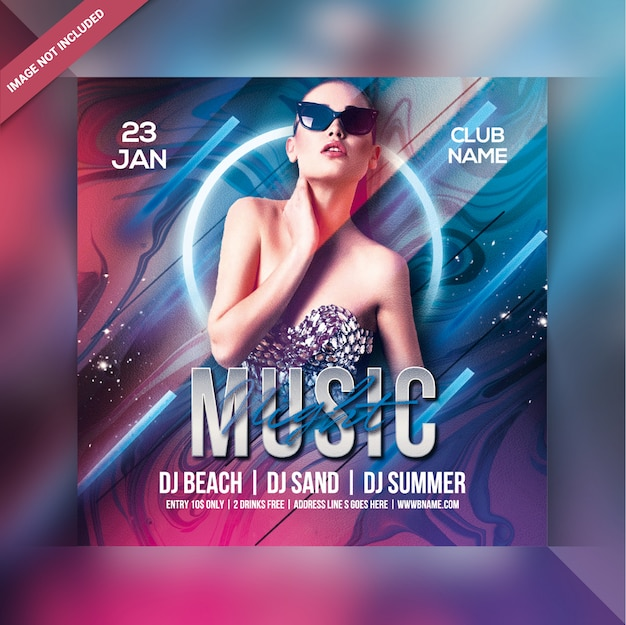 Music night party flyer Premium Psd