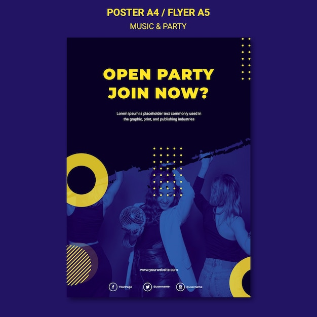 Music & party concept flyer template Free Psd