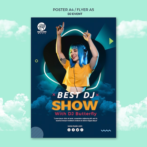 Music party concept poster flyer template | Free PSD File