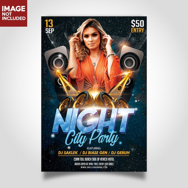 Music party flyer print template Premium Psd