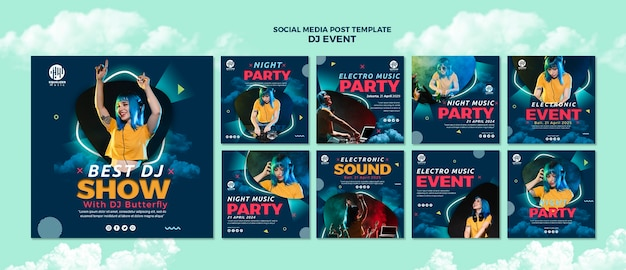Music party social media post template Free Psd