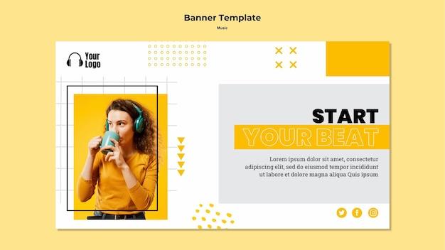 Music platform template banner Free Psd
