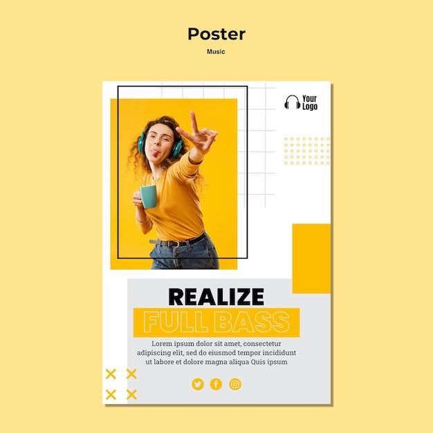 Music platform template poster Free Psd