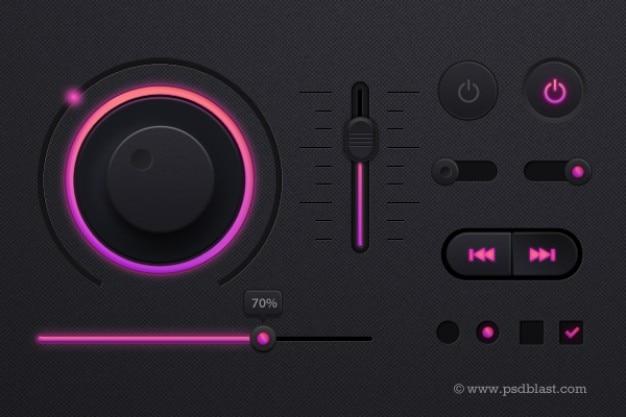 Music player in dark theme psd Free Psd