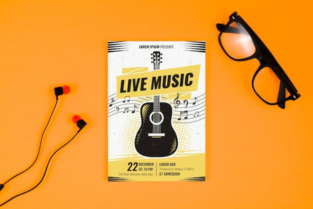 Music poster concept with guitar Free Psd