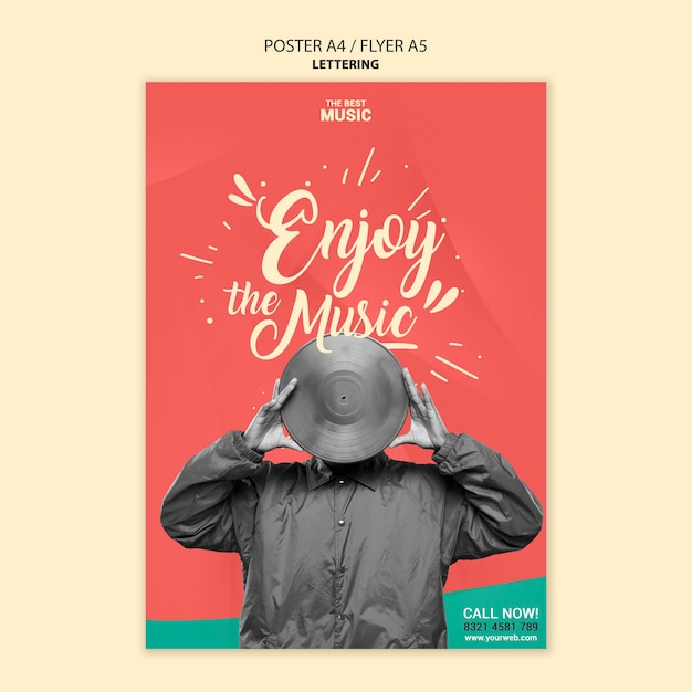 Music poster template with photo Free Psd