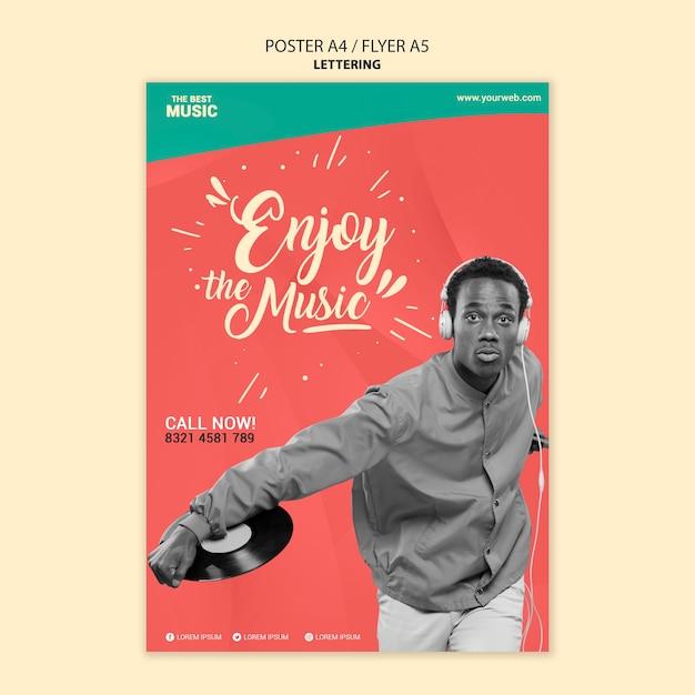 사진과 함께 음악 포스터 템플릿 무료 PSD 파일