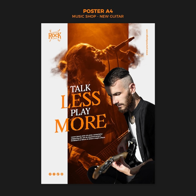 Music shop new guitar poster template Free Psd