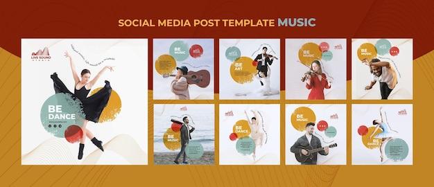 Modello di post sui social media musicali Psd Gratuite