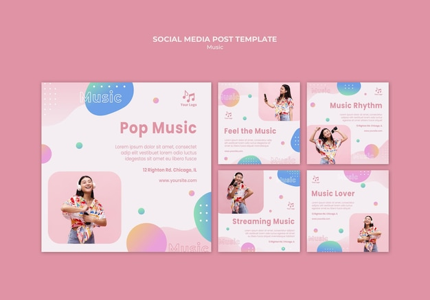 Music and soul social media post Free Psd