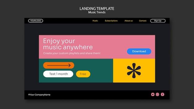 Modello di pagina di destinazione della piattaforma di streaming musicale Psd Gratuite