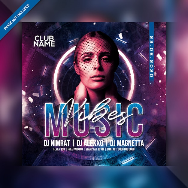 Music vibes party flyer Premium Psd