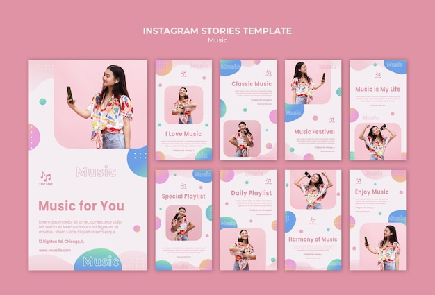 Music for you instagram stories template Free Psd