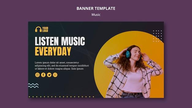 Дизайн шаблона баннера музыкального события Бесплатные Psd